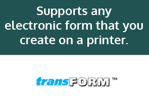 Supports any electronic form that you create on a printer. Recreates and automatically completes your currently printed forms.